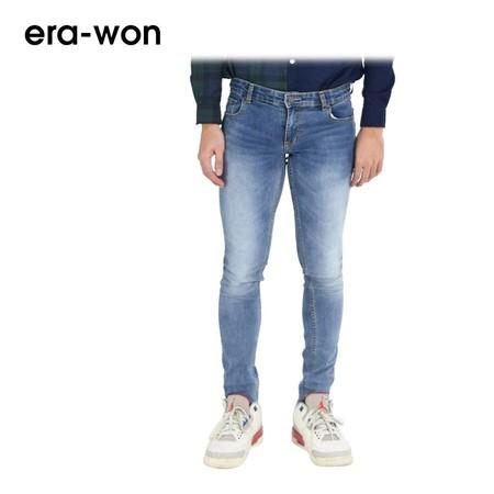 era-won กางเกงยีนส์สี ทรง ULTRA SKINNY - สีฟ้าฟอก (Siver Cat)
