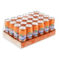 แฟนต้า เครื่องดื่มน้ำอัดลม รสส้ม 325 มล. X 24 กระป๋อง (ยกลัง)
