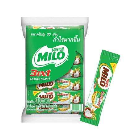 MILO 3-in-1 เครื่องดื่มรสช็อกโกแลตมอลต์ปรุงสำเร็จ 30 ซอง x 35 กรัม