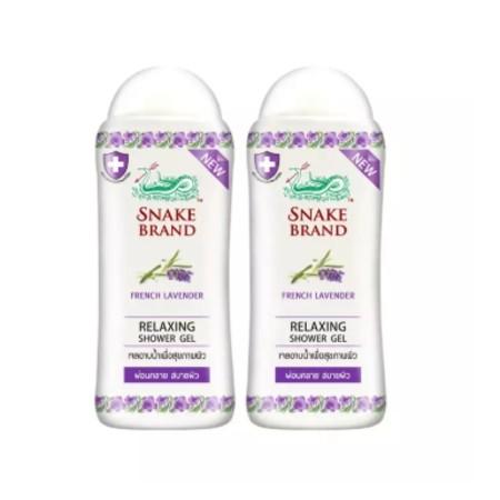 Snake Brand เจลอาบน้ำตรางู สูตรเย็น รีแล็กซิ่ง ลาเวนเดอร์ 180 มล.2 ขวด