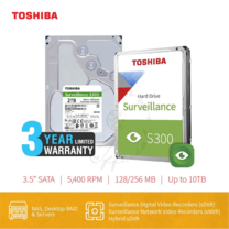 HARDDISK TOSHIBA (S300) HDWT140 2TB SATA 3.5 5400RPM C/B 128 MB
