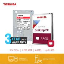 HARDDISK TOSHIBA (P300) (แถมฟรีสมุดโน๊ต TOSHIBA) HDWD120 P300 2TB SATA 3.5 7200RPM C/B 64 MB