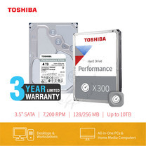 HARDDISK TOSHIBA (X300) (แถมฟรีสมุดโน๊ต TOSHIBA) HDWE140 4TB SATA 3.5 7200RPM C/B 128 MB