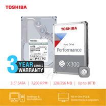 HARDDISK TOSHIBA (X300) (แถมฟรีสมุดโน๊ต TOSHIBA) HDWR11A 10TB SATA 3.5 7200RPM C/B 256 MB