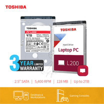 HARDDISK TOSHIBA (L200) (แถมฟรีสมุดโน๊ต TOSHIBA) HDWL110 1TB SATA 2.5 5400RPM C/B 128 MB