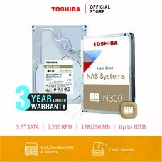 TOSHIBA HARDDISK 8TB (N300) HDWG180  SATA 3.5 7200RPM C/B 128 MB