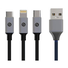 Easy and  perfect สายชาร์จ เส้นเดียวได้ทุกระบบ รุ่น E&P 538 สายชาร์จ 3 in one USB Micro ,Type-C , Ios