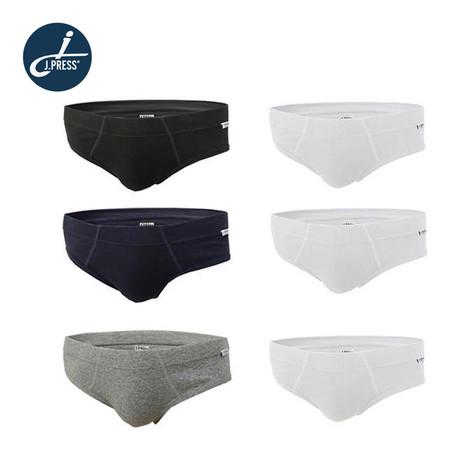 J.Press กางเกงชั้นในชายเจเพรส ขอบเอวหุ้มผ้า No.4202AW 6ตัว/เซ็ต คละสี (ขาว 3/ดำ 1/กรมท่า 1/เทา 1)