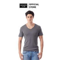 Inner Club เสื้อยืดคอวี ผู้ชาย สีเทา คอตตอน100%