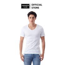 Inner Club เสื้อยืดคอวี ผู้ชาย สีขาว คอตตอน100%