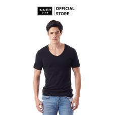 Inner Club เสื้อยืดคอวี ผู้ชาย สีดำ คอตตอน100%