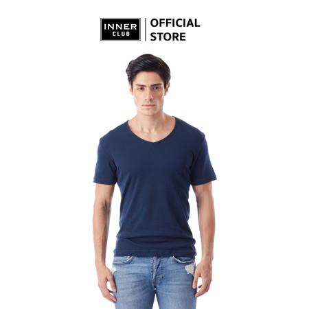 Inner Club เสื้อยืดคอวี ผู้ชาย สีกรมท่า คอตตอน100%