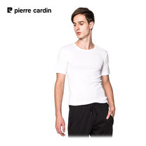 Pierre Cardin PT-009 เสื้อยืดคอกลม RIBBED CREW NECK CLASSIC-COLOURED - สีขาว