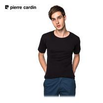Pierre Cardin PT-009 เสื้อยืดคอกลม RIBBED CREW NECK CLASSIC-COLOURED - สีดำ