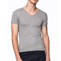 Pierre Cardin PY-008 1 ตัว เสื้อยืดคอวี RIBBED CREW NECK CLASSIC-COLOURED SIZE XXL - สีเทา