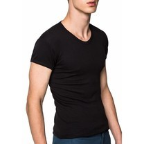 Pierre Cardin PY-008 เสื้อยืดคอวี RIBBED CREW NECK CLASSIC- COLOURED-สีดำ