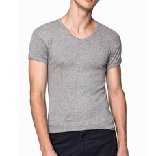Pierre Cardin PY-008 เสื้อยืดคอวี RIBBED CREW NECK CLASSIC- COLOURED-สีเทา