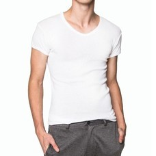 Pierre Cardin PY-008 1 ตัว เสื้อยืดคอวี RIBBED CREW NECK CLASSIC-COLOURED SIZE XXL - สีขาว
