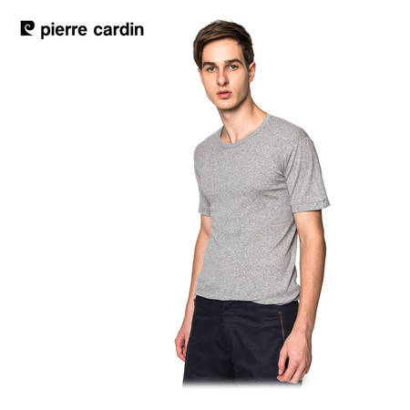 Pierre Cardin PT-009 เสื้อยืดคอกลม RIBBED CREW NECK CLASSIC-COLOURED - สีเทา