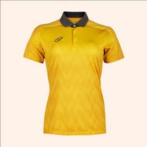 EGO SPORT EG6176เสื้อโปโลพิมพ์หญิงตัดต่อแขนสั้น สีเหลืองทอง