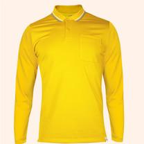 EGO SPORT EG6169 เสื้อโปโลชายเบสิคแขนยาวสีเหลืองจัน(99.95% Anti-Bacteria)