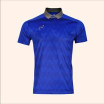 EGO SPORT EG6175เสื้อโปโลพิมพ์ชายตัดต่อแขนสั้น สีน้ำเงิน