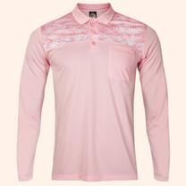 EGO SPORT EG6173 เสื้อโปโลชายแขนยาว สีชมพูแคนดี้