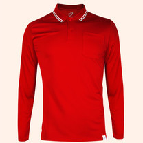 EGO SPORT EG6169 เสื้อโปโลชายเบสิคแขนยาวสีแดง(99.95% Anti-Bacteria)