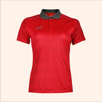 EGO SPORT EG6176เสื้อโปโลพิมพ์หญิงตัดต่อแขนสั้น สีแดงแทงโก้