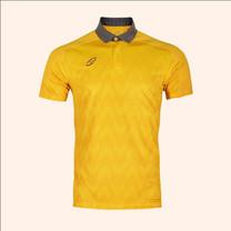 EGO SPORT EG6175เสื้อโปโลพิมพ์ชายตัดต่อแขนสั้น สีเหลืองทอง
