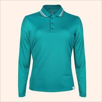 EGO SPORT EG6170 เสื้อโปโลหญิงเบสิคแขนยาวสีเขียวทะเลอ่อน(99.95% Anti-Bacteria)