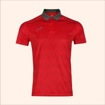 EGO SPORT EG6175เสื้อโปโลพิมพ์ชายตัดต่อแขนสั้น สีแดงแทงโก้