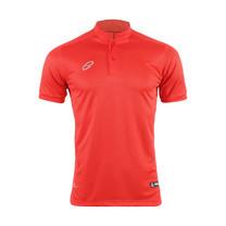 EGO PRIME PM213: เสื้อโปโลคอจีนแขนสั้น ไหล่สโลป สีแดงพ็อพพี้