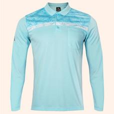 EGO SPORT EG6173 เสื้อโปโลชายแขนยาว สีฟ้าแคริบเบียน