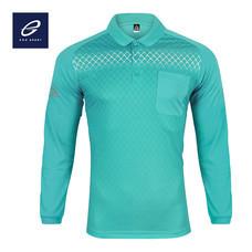 EGO SPORT EG6161 เสื้อโปโลพิมพ์ลายแขนยาว สีฟ้าแคริบเบียน