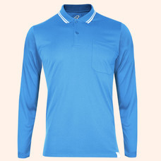 EGO SPORT EG6169 เสื้อโปโลชายเบสิคแขนยาวสีฟ้าเข้ม(99.95% Anti-Bacteria)