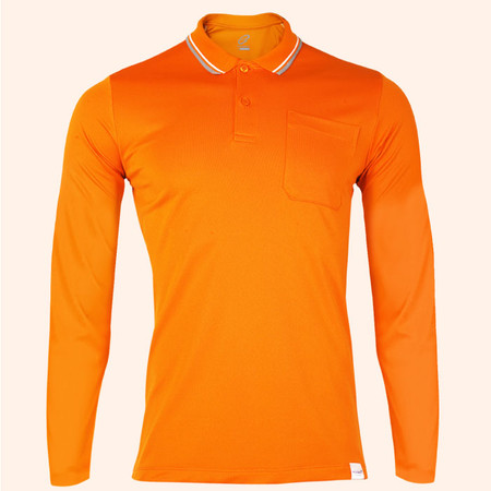 EGO SPORT EG6169 เสื้อโปโลชายเบสิคแขนยาวสีส้มแสด (99.95% Anti-Bacteria)