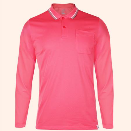 EGO SPORT EG6169 เสื้อโปโลชายเบสิคแขนยาวสีชมพูเข้ม(99.95% Anti-Bacteria)