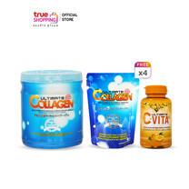 Ultimate Collagen ผลิตภัณฑ์เสริมอาหาร 250 g.1 กระปุก แถมฟรี ขนาด 50 g. 4 ซอง + C-Vita Plus 1 กระปุก