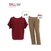 Flora เสื้อแฟชั่นผู้หญิง 4 ตัว แถมฟรี กางเกงผ้าวูลเวฟผู้หญิง 4 ตัว