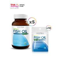 VISTRA SALMON FISH OIL วิสทร้า น้ำมันปลาแซลมอน 5 ขวด แถมฟรี Vistra น้ำมันปลาแซลมอน 10 ซอง