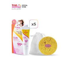 Yura Sun Protect Smooth ครีมกันแดด SPF50+ PA+++ 20g. เซต 5 หลอด แถมฟรี สบู่ YURA กับ ถุงตาข่ายตีฟอง