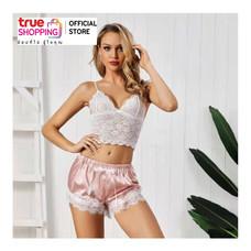 Wolfox ชุดนอนผ้าไหมซาติน รุ่น Sexy Lace Top - สีชมพู