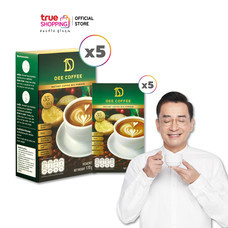 Dee Coffee กาแฟ ดี คอฟฟี่ กาแฟปรุงสำเร็จชนิดผง 5 กล่อง แถมฟรี ขนาดทดลอง 5 ซอง