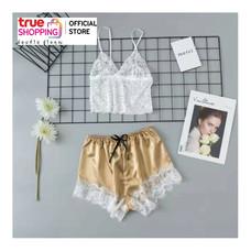 Wolfox ชุดนอนผ้าไหมซาติน รุ่น Sexy Lace Top - สีทอง