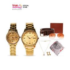 Grand Roma เซตนาฬิกาเรือนสีทองล้อมเพชรคู่ ชาย 1 เรือน หญิง 1 เรือน พร้อมของแถม