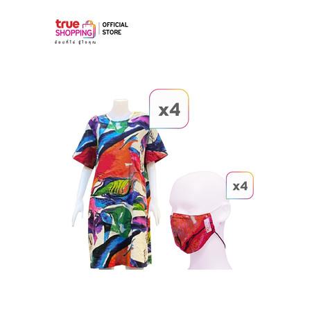 Koaey Beauty Dress ชุดเดรสผ้าฝ้ายผสมลินิน 4 ตัว + แมสผ้า 4 ชิ้น