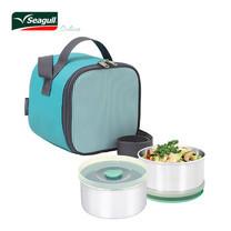 Seagull ชุดกล่องอาหารพร้อมกระเป๋า Cubic - สีเขียว