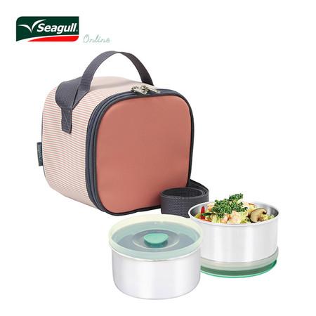 Seagull ชุดกล่องอาหารพร้อมกระเป๋า Cubic - สีชมพู