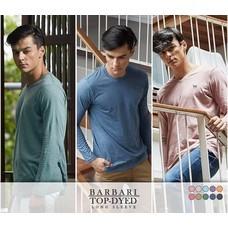 BARBARI รุ่น Top Dyed  เสื้อยืดแขนยาวคอกลม  ปักหน้าอก  ผู้ชาย/ผู้หญิง สีแดง,เขียว,กรม,ดำ (BRL2)